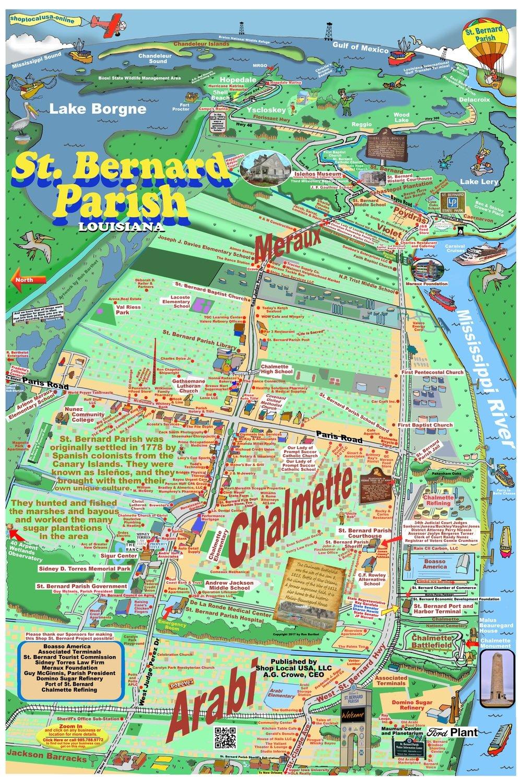St Bernard Caricature Map